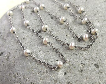 Sterling Silver White Pearl Necklace, Chain Linked Choker, Rustic Wedding, June Birthstone