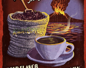 Kauai Coffee Vintage Sign - Kauai, Hawaii (Art Prints available in multiple sizes)