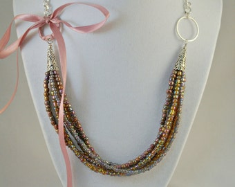 Pink Ribbon Bow Multi-strand Necklace