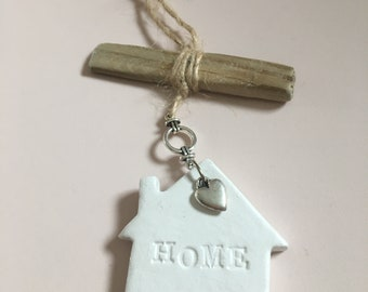 Hanging white air dry clay decoration