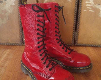 90s red patent leather 15 hole Doc Martin Boots, Made in England