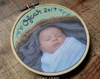 Newborn ornament. Newborn Embroidery on photo. personalized gift. Custom Hand Embroidery ornament. Wall Hanging. Heirloom. Birth gift.