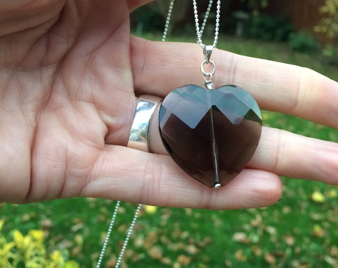 Smoky Quartz heart pendant necklace, Sterling Silver large gemstone heart necklace, brown necklace, brown pendant Smoky Quartz jewelry gift
