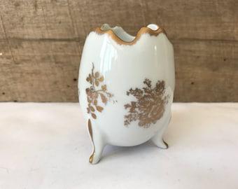 Vintage hand painted french porcelain egg dresser box