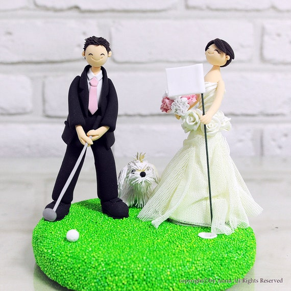 Make Your Own Wedding Topper: Golf Mania Couple Custom Wedding Cake Topper Decoration