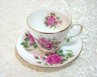 Royal Winchester Bone China Teacup and Saucer, Pink Roses