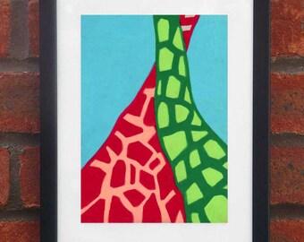 Giraffes - A5 original oil pastel drawing (Framed)