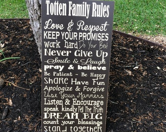 Family Rules Custom Wood Sign ~Family Values ~House Rules Sign ~Personalized Gift ~Family Rules Wall Art ~Last Name ~Household Rules~In This