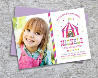 Circus Party Invitation Photo –  DIY Printable Personalized – Big Top Pink (Digital File)