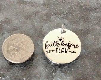 """1 - """"Faith Before Fear"""" pendant, New Series, Silver plated necklace, Faith Necklace, Religious Jewelry, Psalm 34:4 charm"""