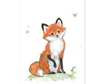 Fox Nursery Art - Giclee - Woodland Animals - Woodland Nursery - Fox Nursery Print - Forest Animal - Fox nursery wall art - Fox art