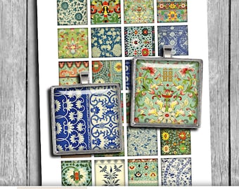 Chinese Ornaments 1x1 inch, 1.5x1.5 inch Square images for Jewelry Making Digital Collage Sheet -  Instant Download