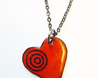 Hand-Enameled on Copper Heart Necklace, Gift For Her, Heart Jewelry, Cupid's Target Necklace, Love Jewelry