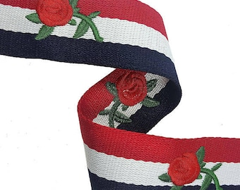 Striped Embroidered Red White and Blue Trim Ribbon, Petersham Grosgrain Ribbon Trim with Embroidered Flowers