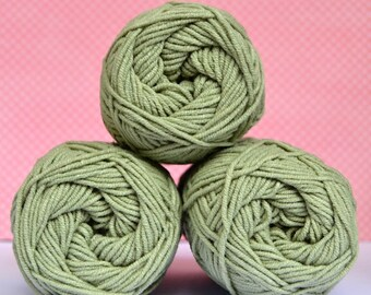 Kacenka - soft cotton/acrylic yarn for crochet and knitting, Light green color, No. 6634, 1 ball/50 g, Producer NCT
