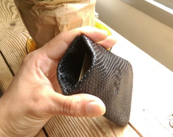 Black cobra leather wallet slim- coin pouch SALE small wallet leather card wallet - thin leather wallet - coin purse wallet handmade JUDTLV