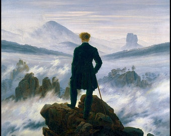 Romantic Age art - The Wanderer above The Sea of Fog - Caspar Friedrich - Mountain Painting - Man vs Nature - German art - Above the Clouds