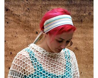 Striped Ivory Sash Belt SA41 - Ethnic Sash - Boho Gypsy Clothing - Boho Chic Fashion - Guatemalan Fabric - White Woven Belt - Pirate Sash