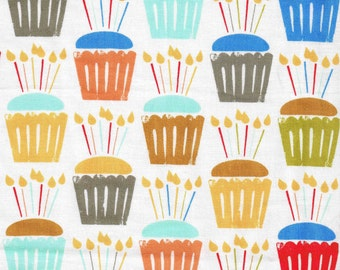 1/2 Yard Cut Cotton Michael Miller Sewing Fabric Cupcake Craze Dessert Candles for Sewing Crafts .5 Yd White Yellow Red Orange
