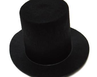 Black Mini Flocked Felt Stovepipe Top Hats
