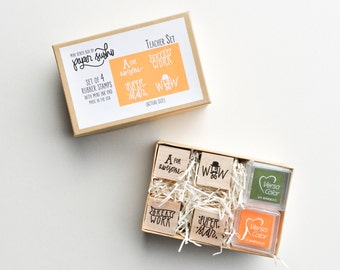Teacher Stamp Set - Teacher Gift Set - Hand lettered and hand drawn set of mini stamps for teachers - gift for teachers teacher gifts F0004