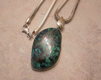 Shattuckite Natural Stone And Sterling Silver Pendant Necklace - Water & Wind Elements - by Silla - SSSPN1
