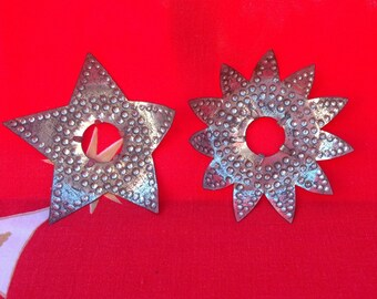 Punched Tin Christmas Light Reflector Set of 2 Vintage