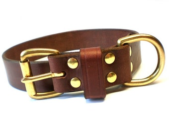 """1 1/4"""" Rich Brown Chahin English Bridle Leather Dog Collar with Solid Brass Hardware and Leather Keeper"""
