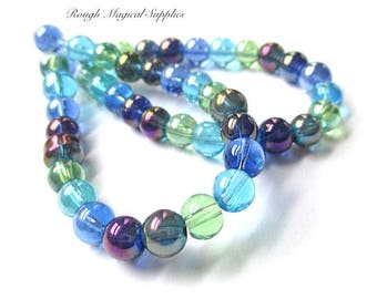 Rainbow Beads, 6mm Beads, Glass Beads, Round Beads, Blue Green Aqua Purple Luster Iridescent Tropical Beach Summer Colors - 23 Pieces SP746