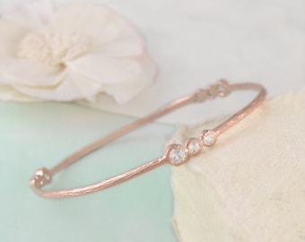 Rose Gold Bangle, Diamond Bracelet, Semi Precious Gemstone Bracelet, Gold Bangle, Stylish Bracelet, White Topaz Bracelet, Organic Bracelet