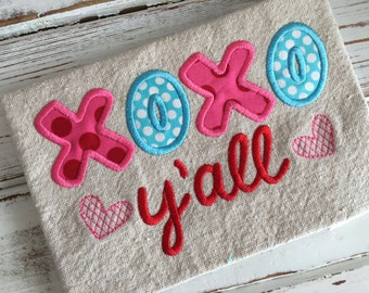 XOXO Hugs and Kisses Y'all Heart Valentine's Day Applique Embroidery Design 5x7 6x10