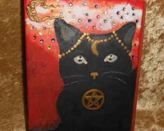 Hand Painted Black Cat Keepsake or Halloween Book Box