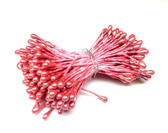 10 Red Pearl flower 6 cm with 4 mm ball Stud pistil
