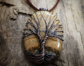 Handmade Tree of Life on Picture Jasper. Wire wrapped pendant. Tree of Life necklace. Natural stone necklace.