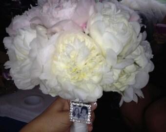 Wedding Bouquet charm, Rhinestone Photo Charm, bouquet charm, photo pendant, memorial photo charm, bridal bouquet, something blue