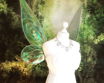 1/1 OOAK Fairy Iridescent wings for costume - Tinkerbell - Real Scale - Silver Green