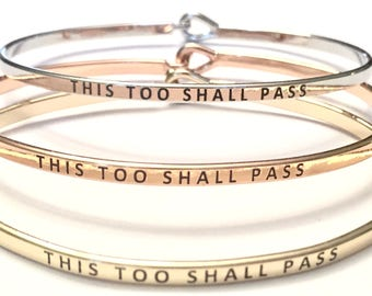 This too shall pass message thin bracelet ) free shipping)