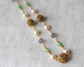 Suffrage Necklace, Purple, Gold, Green, Vintage Beads, Vintage Filigree, Haskell Pearls, Vintage Czech, Bright Gold Tone