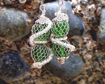 Slytherin Earrings|Harry Potter Jewelry|Green Earrings|Snake Earrings|Ball Earrings|Dangle Earrings|Clip On Earrings|Hypoallergenic Earrings