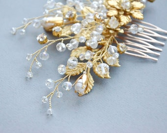 Bridal Hair Comb, Gold leaves Hair Comb, Rhinestone Hair Comb, Bridal Hair Accessories, Bridal Gold Hair Comb, Bridal, Wedding hair comb