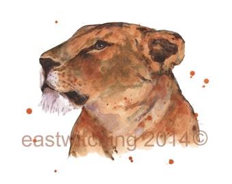 LION Print,  lion painting, watercolor lion print
