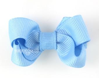 Baby Hair Bow light blue - small hair bows - girls hair bows - toddler hair bows - baby hair bows - 2 inch hairbows - hair barrette non slip