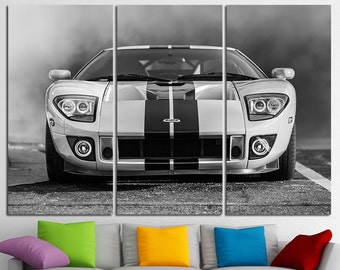 Ford GT Wall Art Multi Panels Set Muscle Car Wall Art Cars Canvas Art Sport Cars Wall Art Sport Cars Print Poster Ford GT Wall Decor Canvas