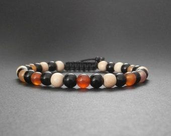 Mens natural carnelian, onyx and wood Pangantoon stones bracelet