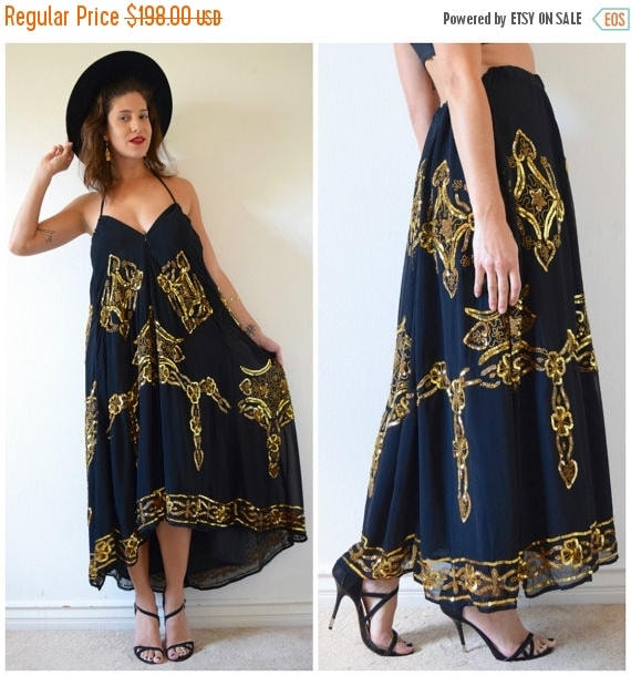 SALE SECTION / 50% off Vintage 80s 90s Black and Gold Sequined and Beaded High Waisted Maxi Skirt