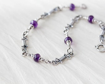 Dainty Amethyst Chain Bracelet, Delicate Sterling Silver Chain Bracelet, unique artisan handcrafted silver links, February birthday gift