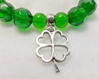 Emerald Green Lucky Charm Stretch Bracelet