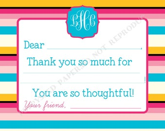 Fill In Thank You Notes- Kids- Children- Stationery- Birthday Party