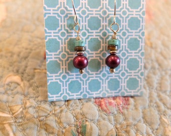 Turquoise and dark pearl earrings