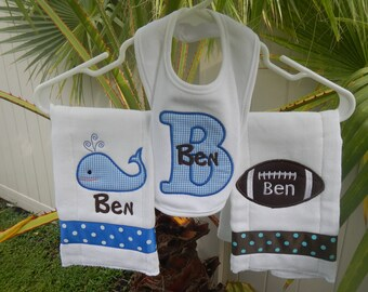 Personalized Baby Boy Football, Whale Set